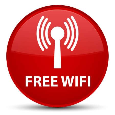 Wifi gratuit (réseau WLAN) isolé sur illustration abstraite spéciale bouton rond rouge Banque d'images - 89483660