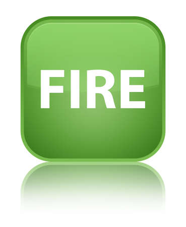 Fire isolated on special soft green square button reflected abstract illustration