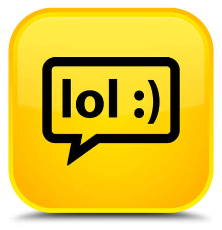 laugh out loud: LOL bubble icon isolated on special yellow square button abstract illustration Stock Photo