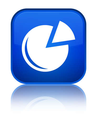 Graph icon isolated on special blue square button reflected abstract illustration