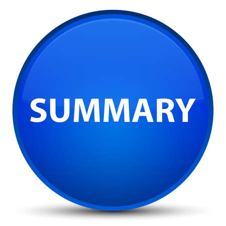 Summary isolated on special blue round button abstract illustration Stok Fotoğraf