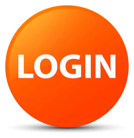 Login isolated on orange round button abstract illustration