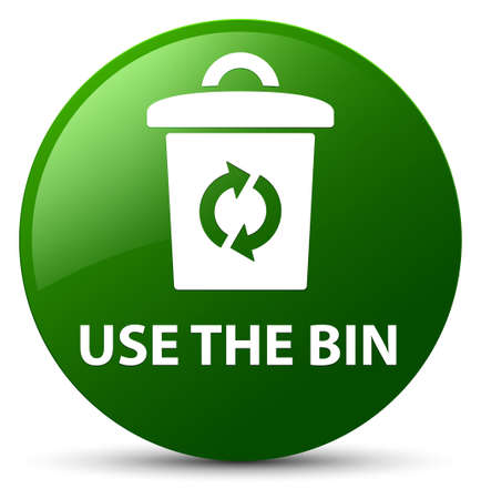 Use the bin isolated on green round button abstract illustration