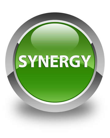 Synergie op glanzende zachte groene ronde knoop abstracte illustratie die wordt geïsoleerd