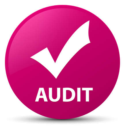 Audit (validate icon) isolated on pink round button abstract illustration