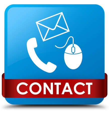 Contact (phone email and mouse icon) cyan blue isolated on square button with red ribbon in middle abstract illustration