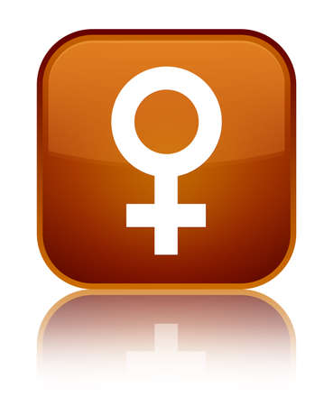 Female sign icon isolated on special brown square button reflected abstract illustration