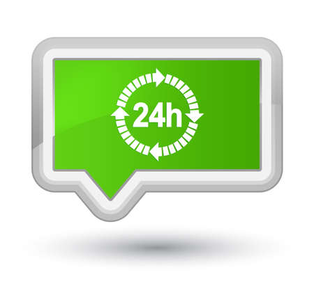 24 hours delivery icon isolated on prime soft green banner button abstract illustration