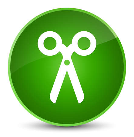 Scissors icon isolated on elegant green round button abstract illustration