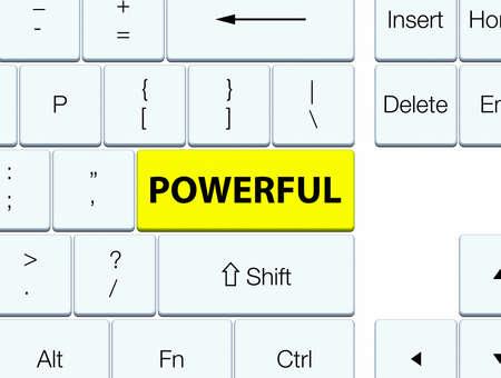 Powerful isolated on yellow keyboard button abstract illustration 版權商用圖片