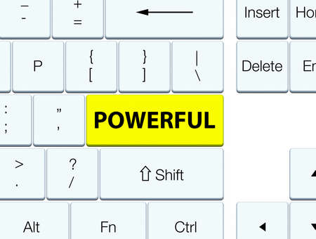 Powerful isolated on yellow keyboard button abstract illustration Stock Photo