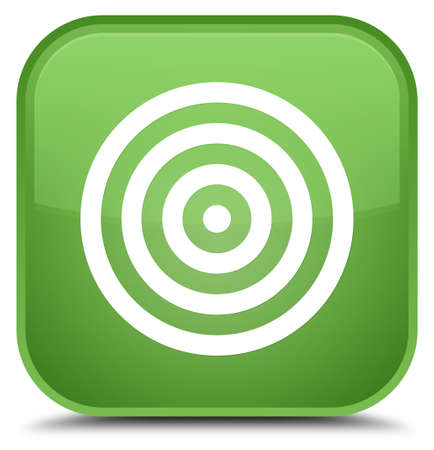 Target icon isolated on special soft green square button abstract illustration