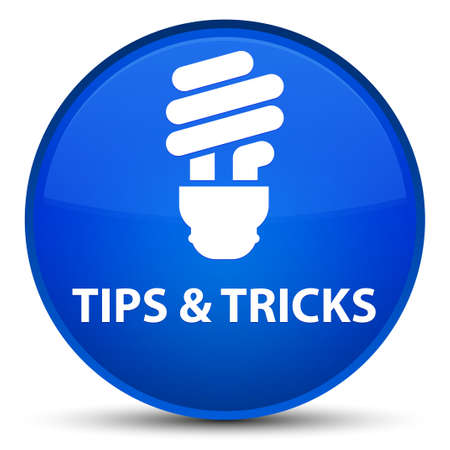 Tips and tricks (bulb icon) isolated on special blue round button abstract illustration