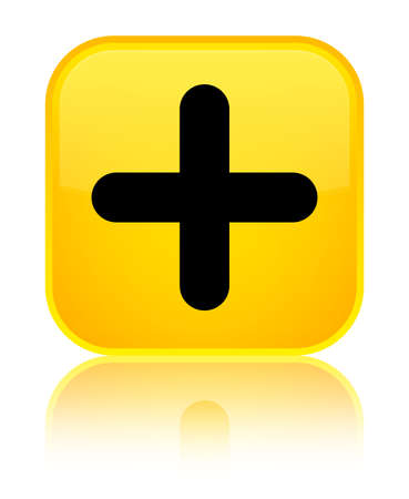 Plus icon isolated on special yellow square button reflected abstract illustration