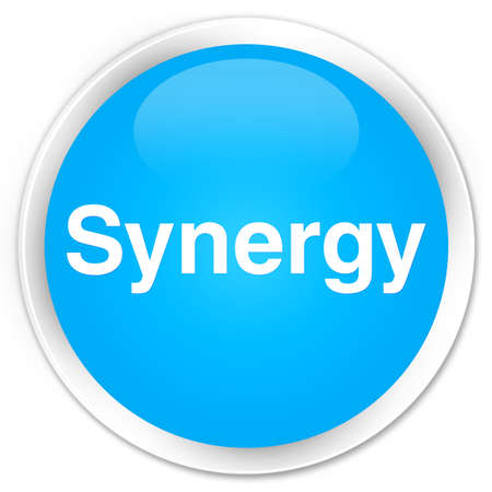 Synergie op abstracte cyaan blauwe ronde knoop abstracte illustratie die wordt geïsoleerd Stockfoto