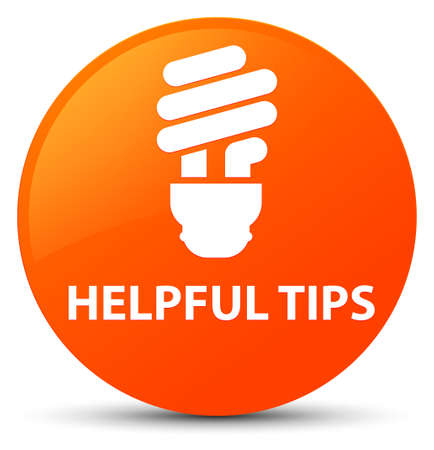 Helpful tips (bulb icon) isolated on orange round button abstract illustration Standard-Bild