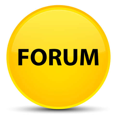 Forum isolated on special yellow round button abstract illustration Stock Photo