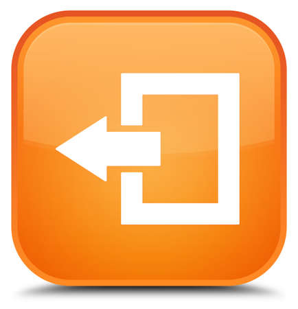 Logout icon isolated on special orange square button abstract illustration