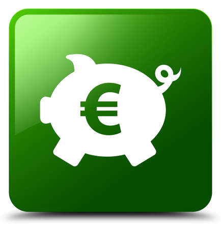 Piggy bank euro sign icon isolated on green square button abstract illustration