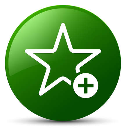 Add to favorite icon isolated on green round button abstract illustration
