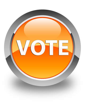 Vote isolated on glossy orange round button abstract illustration Stock Photo