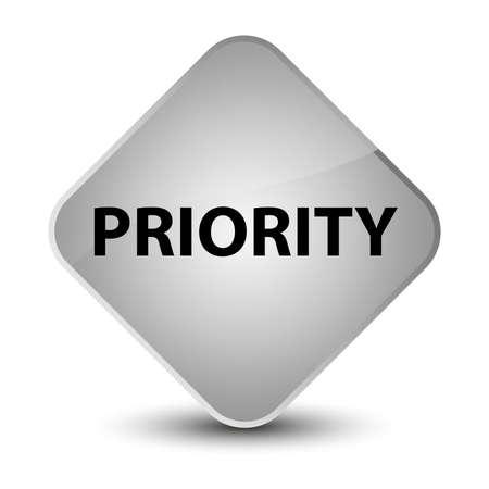 Priority isolated on elegant white diamond button abstract illustration