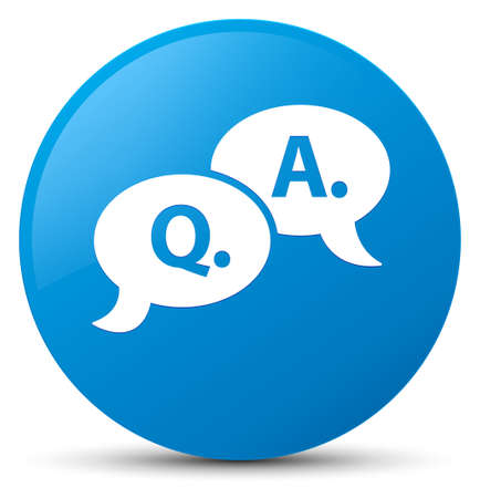Question answer bubble icon isolated on cyan blue round button abstract illustration