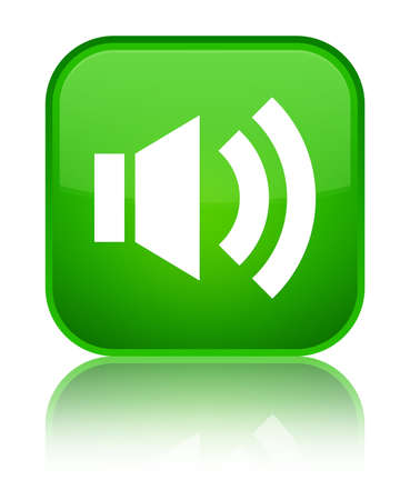Volume icon isolated on special green square button reflected abstract illustration Stock Photo
