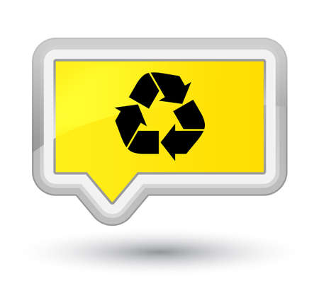 Recycle icon isolated on prime yellow banner button abstract illustration