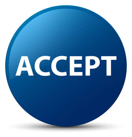 Accept isolated on blue round button abstract illustration Stok Fotoğraf - 89484722