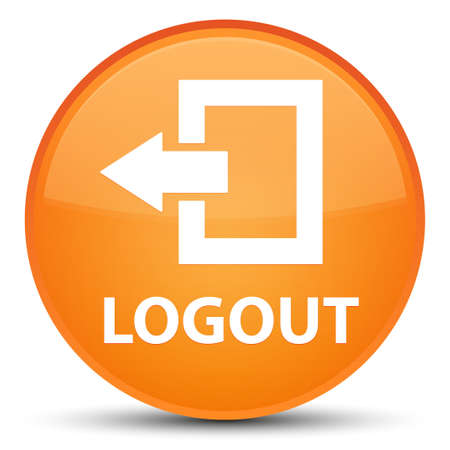 Logout isolated on special orange round button abstract illustration
