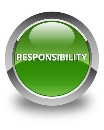Verantwoordelijkheid op glanzende zachte groene ronde knoop abstracte illustratie die wordt geïsoleerd Stockfoto