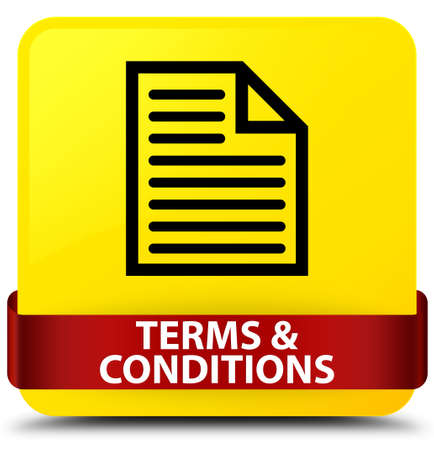 Terms and conditions (page icon) isolated on yellow square button with red ribbon in middle abstract illustration Stock Photo