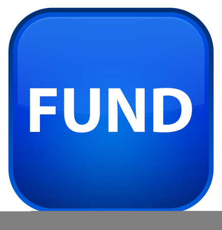 Fund isolated on special blue square button abstract illustration Stock Photo