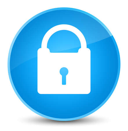 Padlock icon isolated on elegant cyan blue round button abstract illustration
