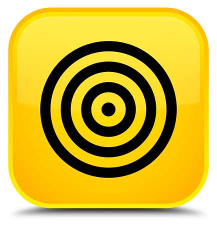 特別な黄色の四角ボタンの抽象イラストに分離ターゲットアイコン