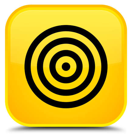 Target icon isolated on special yellow square button abstract illustration