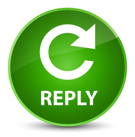 Reply (rotate arrow icon) isolated on elegant green round button abstract illustration