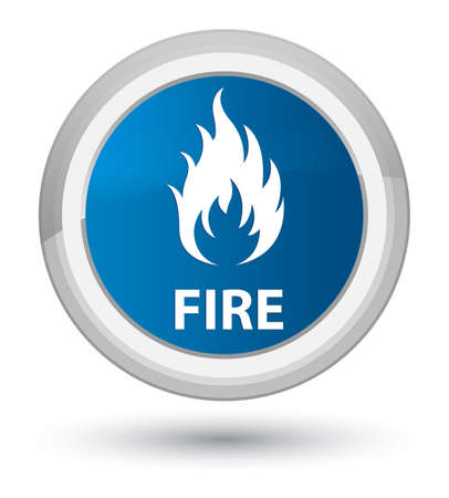 Fire isolated on prime blue round button abstract illustration Stock Photo
