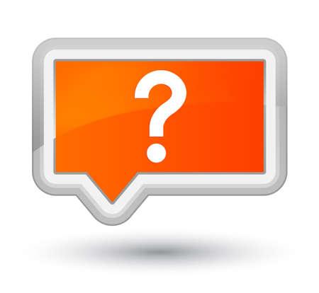 プライムオレンジのバナーボタンに分離された疑問符アイコン 写真素材