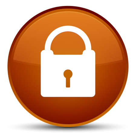 Padlock icon isolated on special brown round button abstract illustration Stock Photo