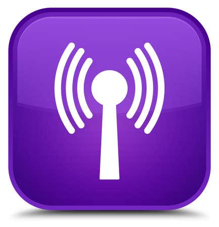 Icône de réseau WLAN isolé sur illustration abstraite spéciale bouton carré violet Banque d'images - 89485340