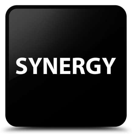 Synergie op zwarte vierkante knoop abstracte illustratie die wordt geïsoleerd Stockfoto