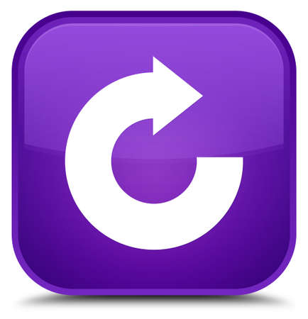 Reply arrow icon isolated on special purple square button abstract illustration Stock Photo