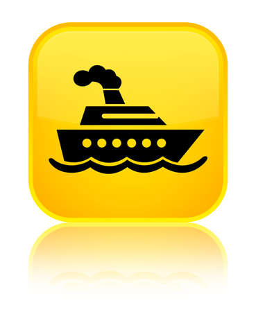 Cruise ship icon isolated on special yellow square button reflected abstract illustration Stock Photo