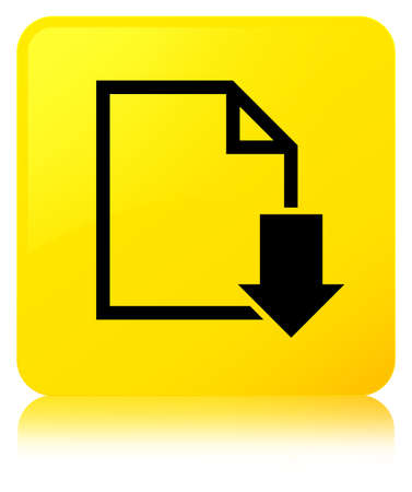 Download document icon isolated on yellow square button reflected abstract illustration