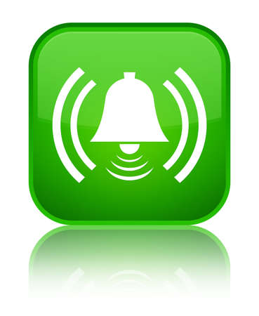 Alarm icon isolated on special green square button reflected abstract illustration