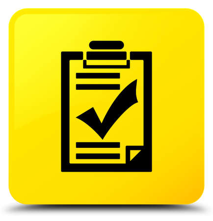 Checklist icon isolated on yellow square button abstract illustration Stock Photo