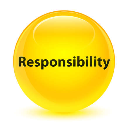 Responsibility isolated on glassy yellow round button abstract illustration Stock Photo