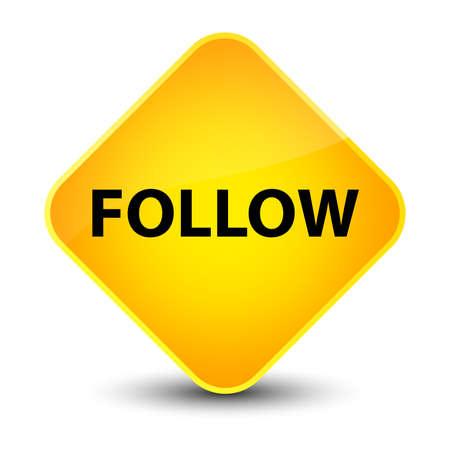 after: Follow isolated on elegant yellow diamond button abstract illustration Stock Photo